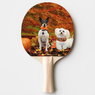 Fall Thanksgiving - Monty Fox Terrier & Milly Malt Ping-Pong Paddle