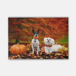 Fall Thanksgiving - Monty Fox Terrier & Milly Malt Post-it® Notes