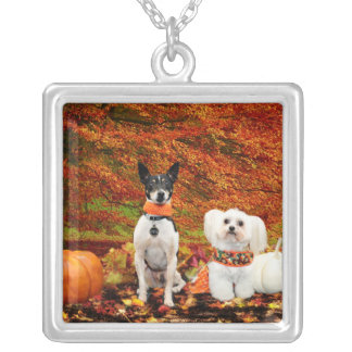Fall Thanksgiving - Monty Fox Terrier & Milly Malt Silver Plated Necklace