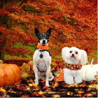 Fall Thanksgiving - Monty Fox Terrier & Milly Malt Standing Photo Sculpture