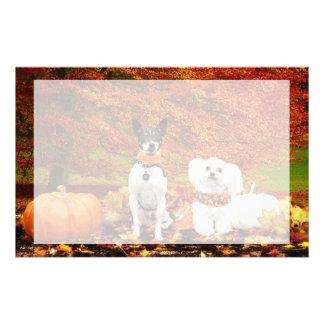 Fall Thanksgiving - Monty Fox Terrier & Milly Malt Stationery Design