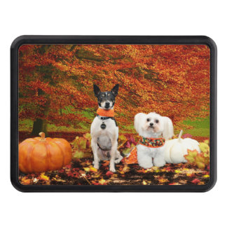 Fall Thanksgiving - Monty Fox Terrier & Milly Malt Trailer Hitch Cover