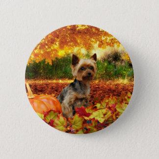 Fall Thanksgiving - Tucker - Yorkie 2 Inch Round Button