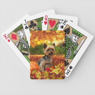 Fall Thanksgiving - Tucker - Yorkie Bicycle Playing Cards