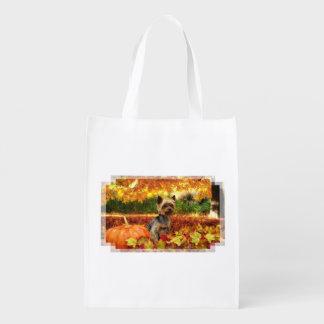 Fall Thanksgiving - Tucker - Yorkie Grocery Bag