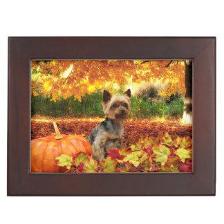 Fall Thanksgiving - Tucker - Yorkie Keepsake Box