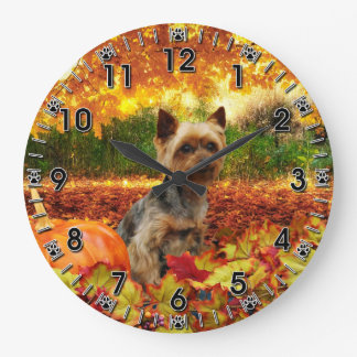Fall Thanksgiving - Tucker - Yorkie Large Clock