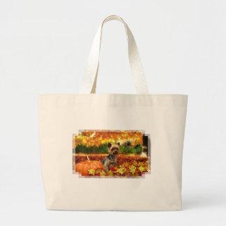 Fall Thanksgiving - Tucker - Yorkie Large Tote Bag