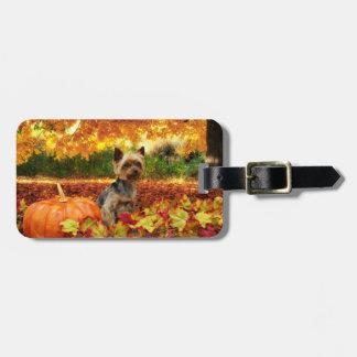 Fall Thanksgiving - Tucker - Yorkie Luggage Tag