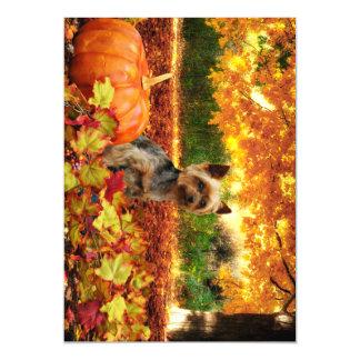 Fall Thanksgiving - Tucker - Yorkie Magnetic Card