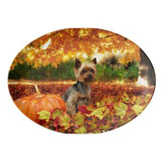 Fall Thanksgiving - Tucker - Yorkie Porcelain Serving Platter