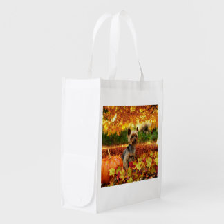 Fall Thanksgiving - Tucker - Yorkie Reusable Grocery Bag