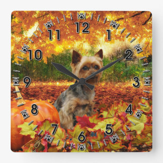 Fall Thanksgiving - Tucker - Yorkie Square Wall Clock