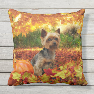 Fall Thanksgiving - Tucker - Yorkie Throw Pillow
