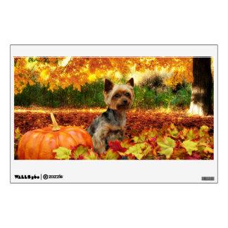 Fall Thanksgiving - Tucker - Yorkie Wall Sticker