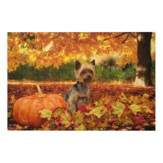 Fall Thanksgiving - Tucker - Yorkie Wood Print