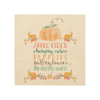 "Fall Themed 8""x8"" Wood Wall Art"