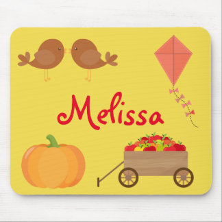 Fall Themed Apples, Pumpkins, and Brown birds Mouse Pad