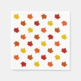 Fall-Themed Napkins - Polka Maple Leaves Disposable Napkins