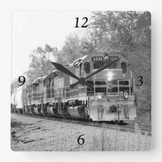 Fall Train Black And White Square Wall Clock