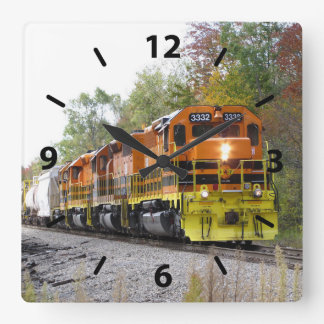 Fall Train Square Wall Clock