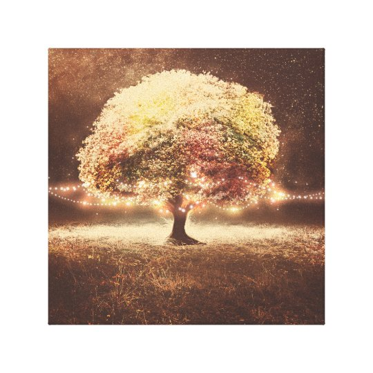 Fall Tree and Romantic Rustic String Lights Canvas Print