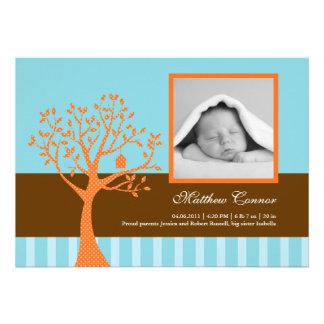 Fall Tree Baby Boy Birth Announcement
