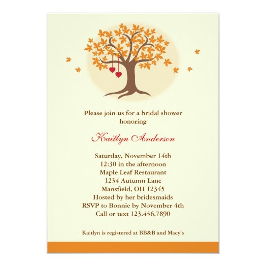 Standard Monetary Wedding Gift: Fall Tree Bridal Shower Invitation