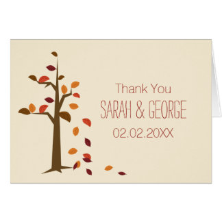 Fall, tree fall wedding Thank You Card