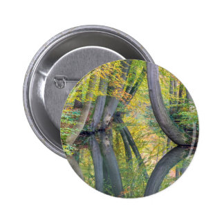 Fall tree trunks with reflection in forest water 2 inch round button