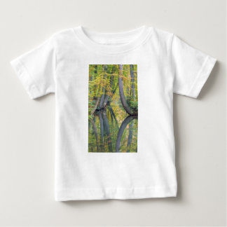 Fall tree trunks with reflection in forest water baby T-Shirt