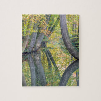 Fall tree trunks with reflection in forest water jigsaw puzzle