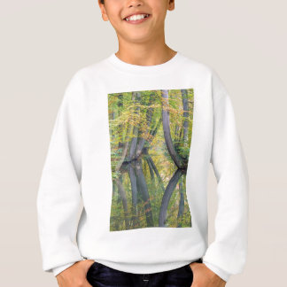 Fall tree trunks with reflection in forest water sweatshirt