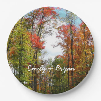 Fall Trees and Blue Sky Autumn Nature Photography Paper Plate