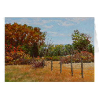 Fall Trees and Red Bushes w Fence Greeting Cards