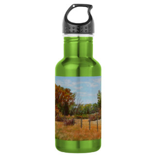 Fall Trees and Red Bushes w Fence Water Bottle