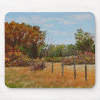 Fall Trees and Red Bushes with Fence Mousepad