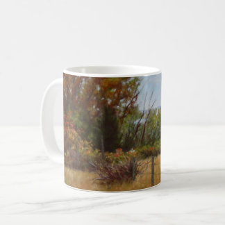 Fall Trees and Red Bushes with Fence Mugs