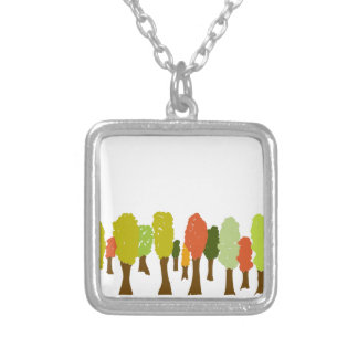 Fall trees silver plated necklace