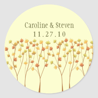Fall Twig Tree - Wedding Classic Round Sticker