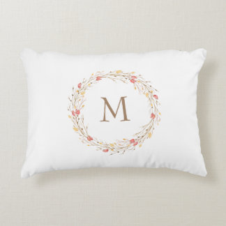 Fall Twig Wreath Monogram Accent Pillow