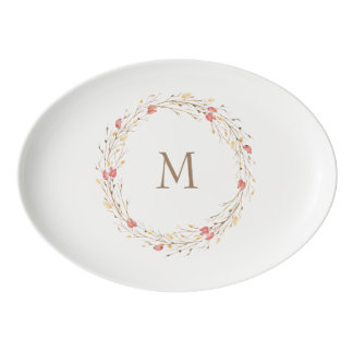 Fall Twig Wreath Monogram Ceramic Platter