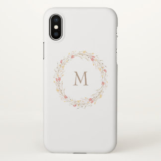 Fall Twig Wreath Monogram iPhone Case