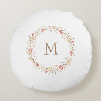 Fall Twig Wreath Monogram Round Pillow