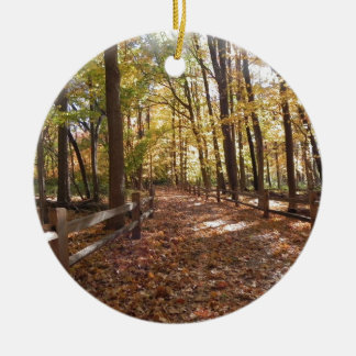 Fall walk in the park and changing colors round ceramic ornament