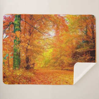 Fall Walk in the Woods Sherpa Blanket