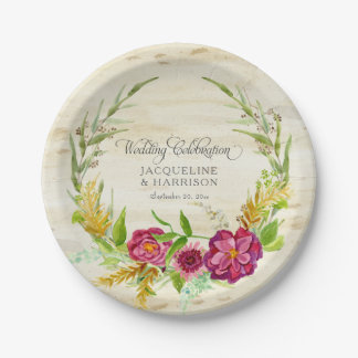 Fall Watercolor Burgundy Rose Floral w Rustic Wood Paper Plate