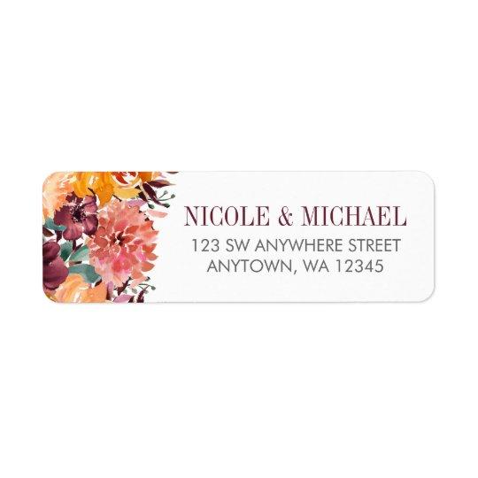 Fall Watercolor Flowers Return Address Return Address Label