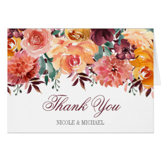 Fall Watercolor Flowers Thank You Card
