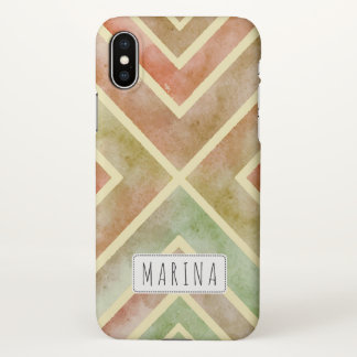 Fall watercolor geometric stripes personalized iPhone x case